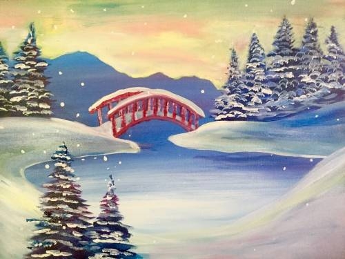 A Red Bridge in Winter paint nite project by Yaymaker