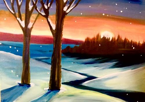 A Winter River View paint nite project by Yaymaker