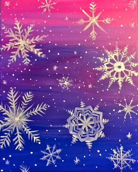 A Snowflakes at Sunset paint nite project by Yaymaker