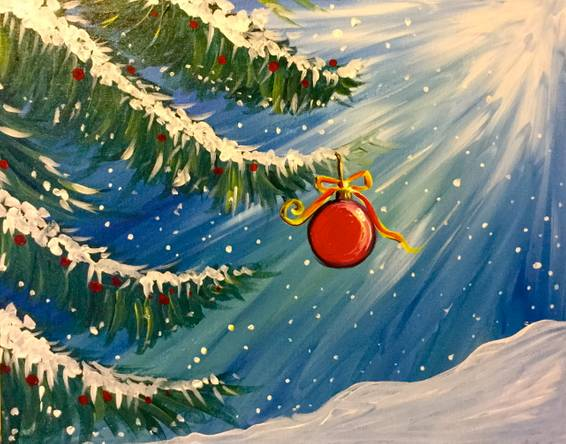 A Wintery Ornament paint nite project by Yaymaker
