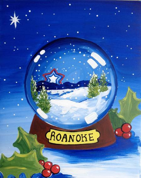 A Star City Snow Globe paint nite project by Yaymaker