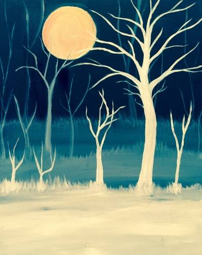 A Deep into the Dark Blue Forest paint nite project by Yaymaker