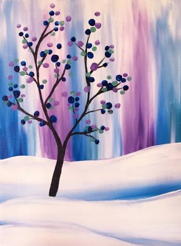 A Polka Dot Tree in Winter paint nite project by Yaymaker