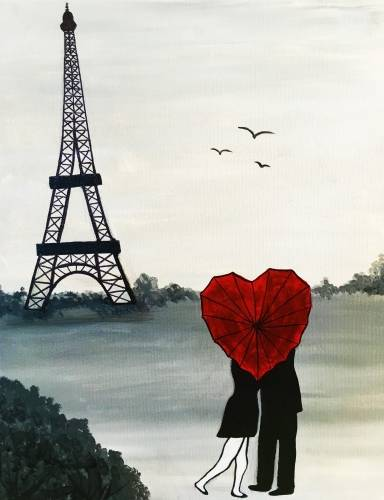 A Love in Paris paint nite project by Yaymaker