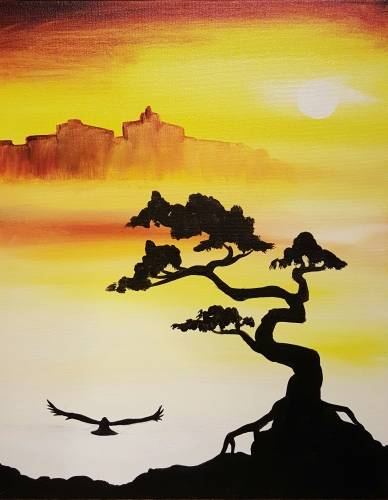 A Morning on Mystic Mountain paint nite project by Yaymaker