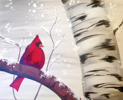 A Snowy Bird paint nite project by Yaymaker