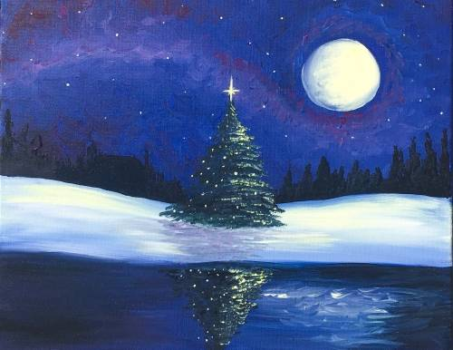 A Silent Night Tree paint nite project by Yaymaker