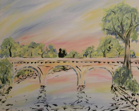 A Ponte DAmore Bridge of Love paint nite project by Yaymaker
