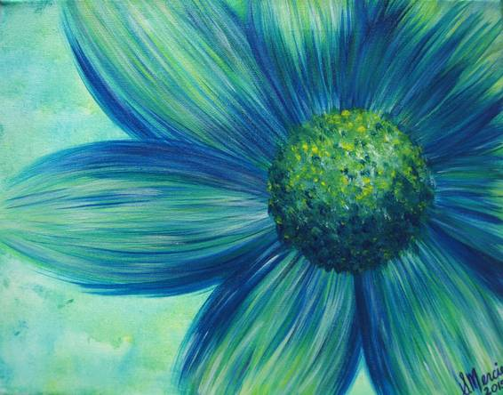 A Blue Green Daisy paint nite project by Yaymaker