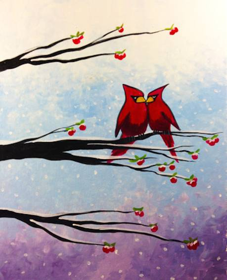 A Cardinals in Winter paint nite project by Yaymaker