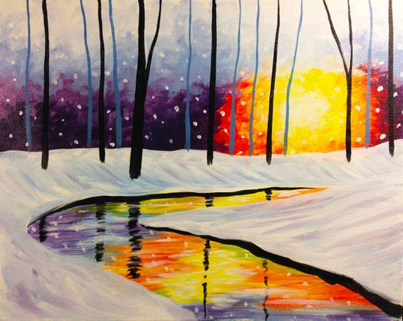 A Reflections of Winter paint nite project by Yaymaker