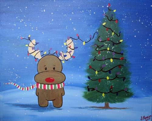A Reindeer Lights II paint nite project by Yaymaker