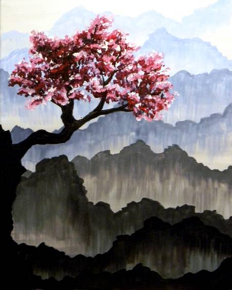 A Blossoms over Haze paint nite project by Yaymaker