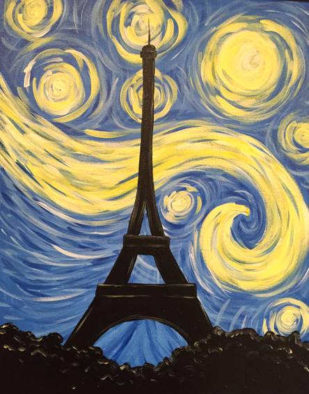 A Starry Night Paris paint nite project by Yaymaker