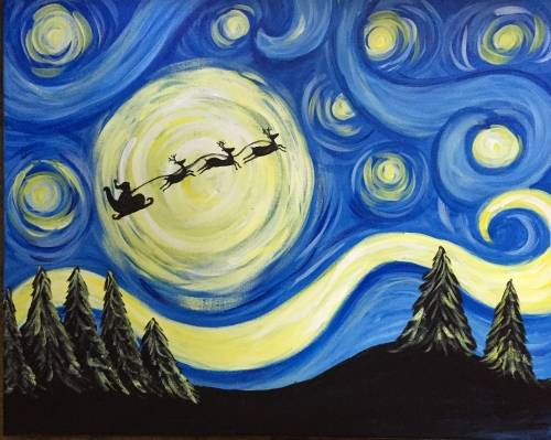 A Starry Night Santa paint nite project by Yaymaker