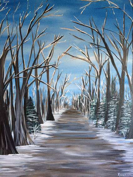 A Winter Walk paint nite project by Yaymaker