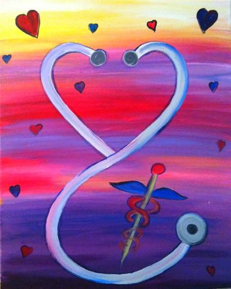 A We Love Nurses and Stethoscopes paint nite project by Yaymaker