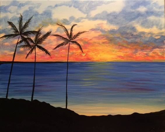 A Palm Tree in Paradise paint nite project by Yaymaker