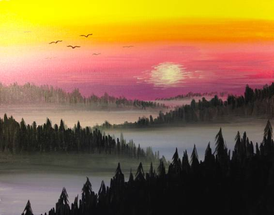 A Misty Mountain Sunrise paint nite project by Yaymaker