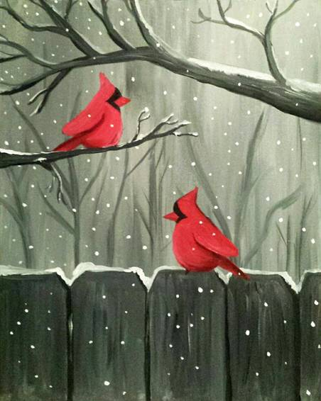 A Winter Visitors paint nite project by Yaymaker