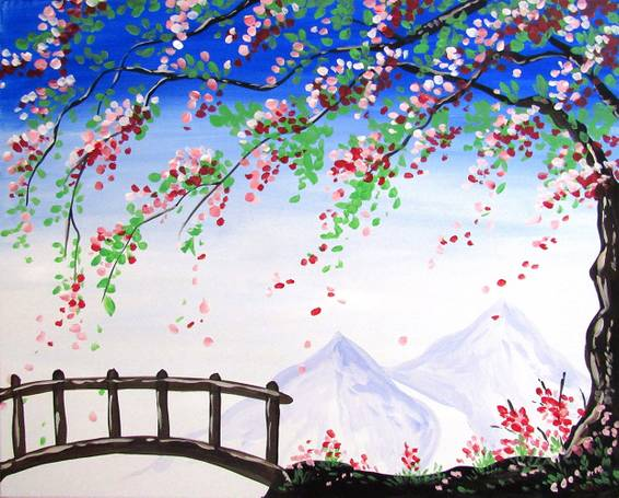 A Bougainvilleas and the Tranquil Bridge paint nite project by Yaymaker