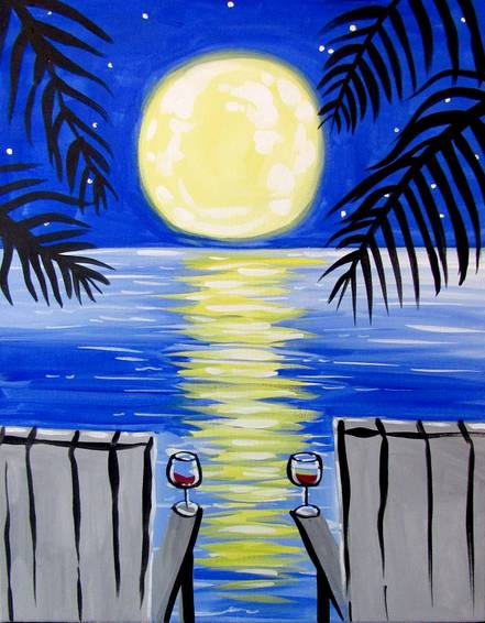 A Beach Moonlight Sip paint nite project by Yaymaker