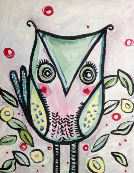 A Give a Hoot Owl paint nite project by Yaymaker
