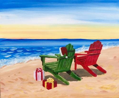 A Christmas on the Shore paint nite project by Yaymaker