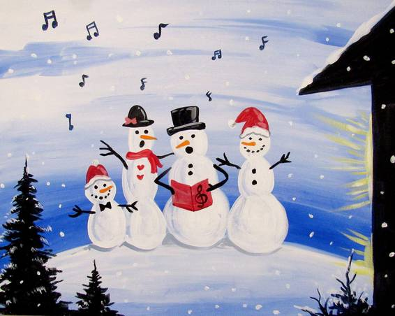 A Snow Carolers paint nite project by Yaymaker