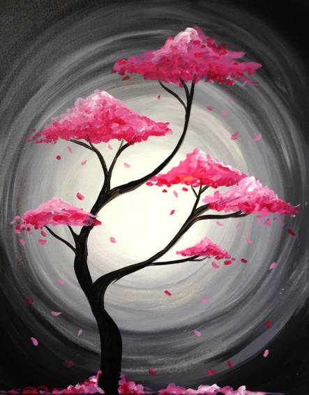 A Pink Tree of Life paint nite project by Yaymaker