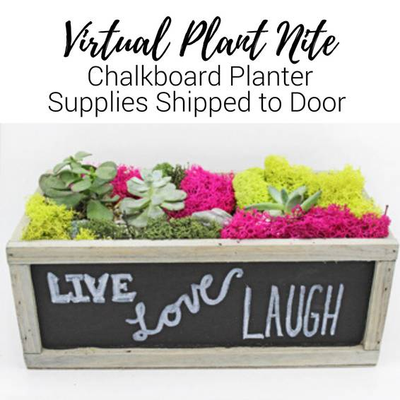 A Virtual Plant Nite Chalkboard Planter Supplies Shipped to Door experience project by Yaymaker