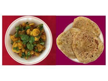 A Aloo Gobi potatoescauliflower  ParathaVeganVegetarian experience project by Yaymaker