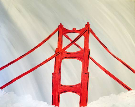 A Fog at Golden Gate Bridge paint nite project by Yaymaker