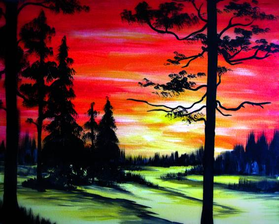 A Sunset In A Snowy Valley paint nite project by Yaymaker