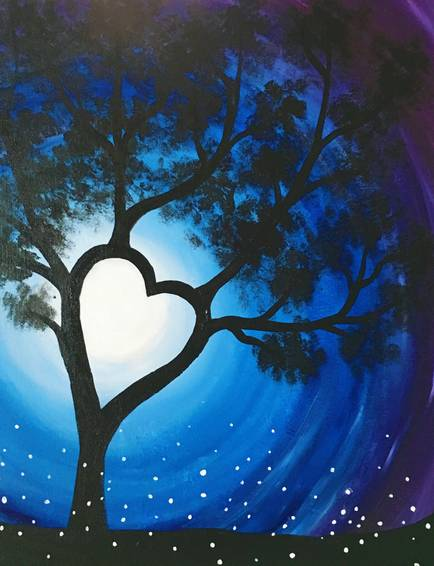 A Heart Tree in Moonlight paint nite project by Yaymaker