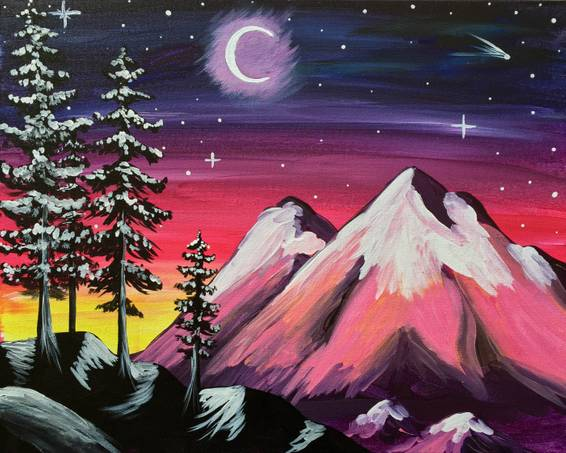 A Snowy Peaks paint nite project by Yaymaker