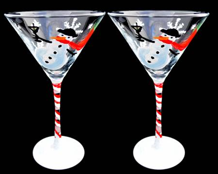 A Tipsy Snowman Martini Glass paint nite project by Yaymaker