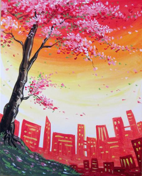 A City Blossoms paint nite project by Yaymaker