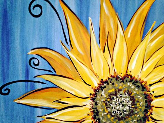 A Sunflower Swirl paint nite project by Yaymaker