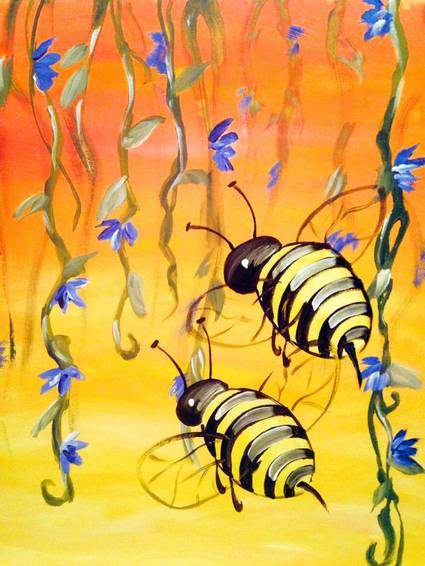 A Buzzing Bees paint nite project by Yaymaker