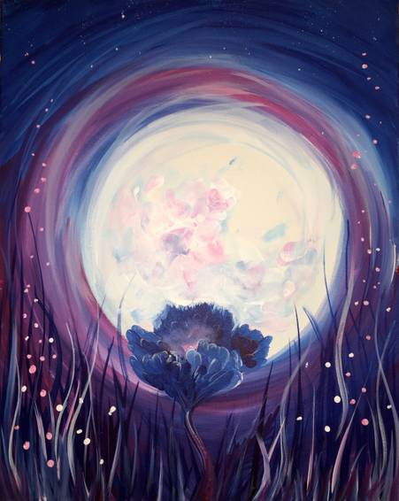 A Moonlit Flower paint nite project by Yaymaker