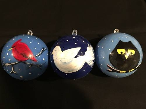 A Winter Birds Ornaments paint nite project by Yaymaker
