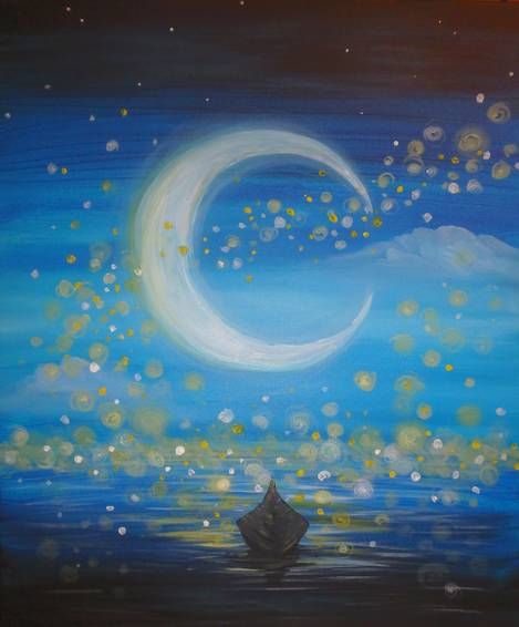 A A Ride To The Moon paint nite project by Yaymaker