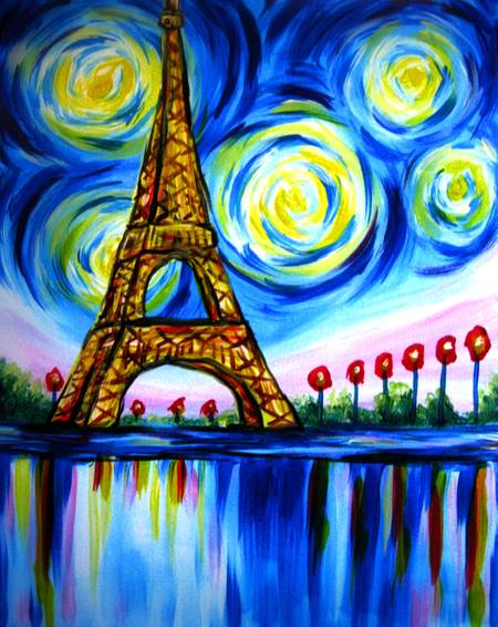 A Beautiful Paris Eiffel Tower paint nite project by Yaymaker