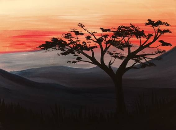 A Red Sky Serene paint nite project by Yaymaker