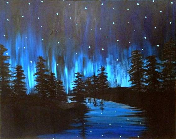 A Aurora on the River paint nite project by Yaymaker