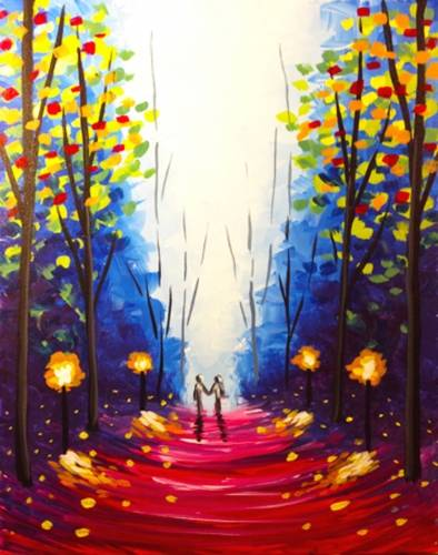 A Misty Twilight Stroll paint nite project by Yaymaker