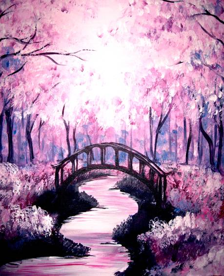 A Bridge under the Cherry Blossoms paint nite project by Yaymaker