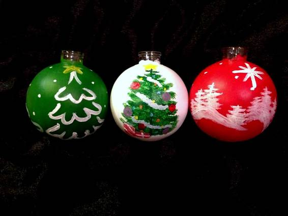 A Merry Little Trees Ornaments paint nite project by Yaymaker