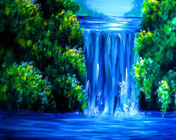 A Secret Hidden Waterfall paint nite project by Yaymaker